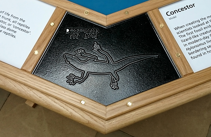 A metal tactile line drawing of a Concestor.