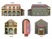 Orthographic views of Crete Villa.