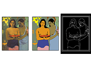 Deux Tahitiennes by Paul Gauguin, represented in full colour, high contrast, black and yellow and with tactile elements.