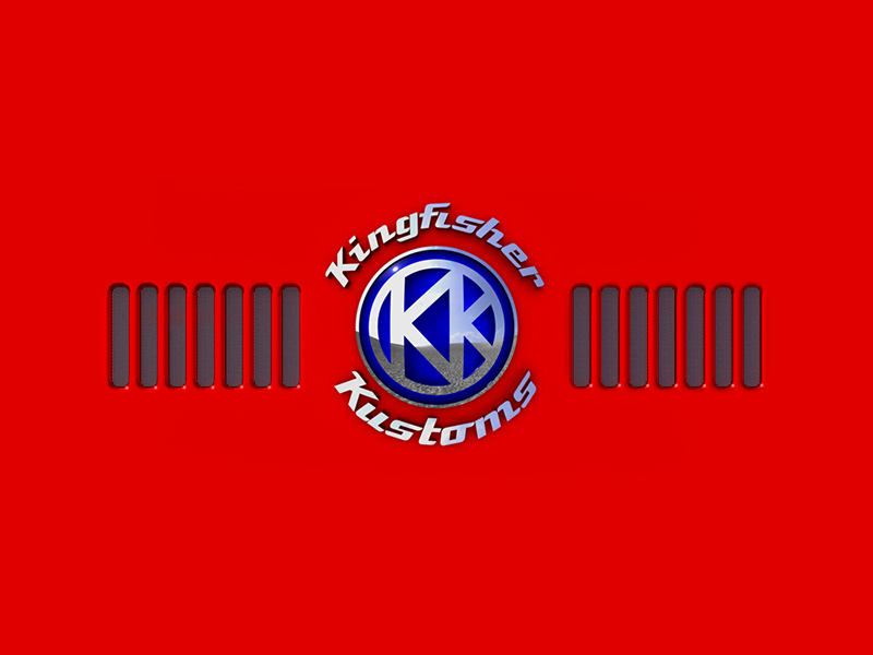 Kingfisher Kustoms logo on a red backgound with radiator grill design.