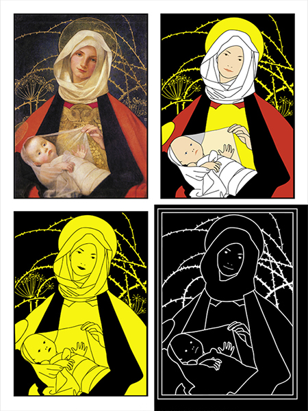 The Madonna and child represented in full colour, high contrast, black and yellow and with tactile elements.