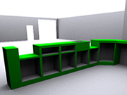 Rear view of shop counter design.
