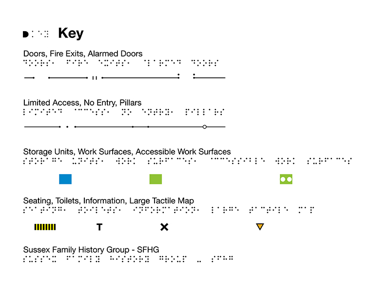 Braille / tactile key for the A3 map, for The Keep.