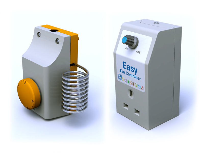 3D models of thermostat and controller.