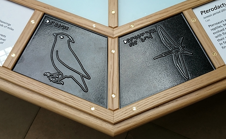Metal tactile line drawings of a Waxwing and a Pterodactyl.