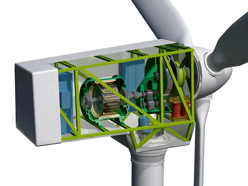 3D model of wind turbine and internal mechanism.